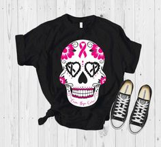 Excited to share this item from my shop: Breast cancer sugar skull shirt or tank top. Choose style and color. Size We welcome custom orders Breast Cancer Shirts, Cancer Awareness Shirts, Breast Cancer Awareness, Sugar Skull Shirt, Skull Shirts, Country Shirts, High Quality T Shirts, Cool Shirts, Tee Shirts