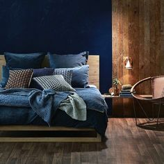32 Stunning Cozy Bedroom Design Ideas You Definitely Like - Your bedroom should be a reflection of coziness and comfort, which can mean a variety of things based upon preference and style. People also want bedr. Dark Blue Bedrooms, Navy Bedrooms, Blue Bedroom Walls, Blue Accent Walls, Blue Bedroom Decor, Bedroom Wall Colors, Accent Wall Bedroom, Blue Rooms, Master Bedrooms