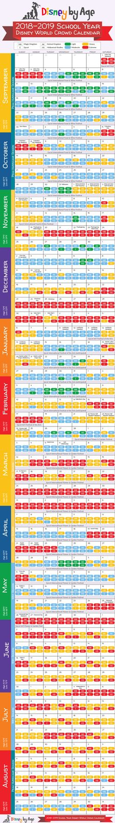 Walt Disney World Crowd Calendar 2018 and 2019. Plan your family vacation at the best time to visit the Happiest Place on Earth!