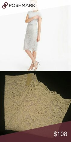 J. Crew lace pencil skirt Product details  We knew this intricate lace was perfect for a pencil skirt?the clean lines and simple shape of the skirt beautifully show off the ornate pattern, right down to the scalloped hem.  Cotton/nylon/rayon. Back zip. Lined. Dry clean. Import. Item B2313. J. Crew Skirts Pencil