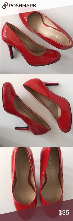 """Nine West Patent Red Round Toe Pumps Heels 7.5M Nine West Women's Patent Red Round Toe Pumps Heels 7.5M -Very good condition with normal signs of wear. ( See photos for details)  -Round-Toe. -Heel Height: 3.5"""" Nine West Shoes Heels"""