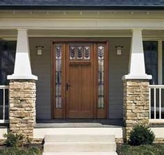 arts & crafts style, front home exterior design, stone, wood door, mission style