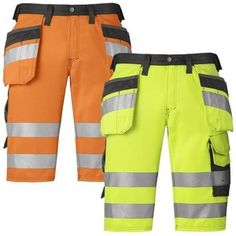 Snickers Hi Vis Holster Pocket Shorts Class 1 (Dirt Repelling) UK SUPP –…