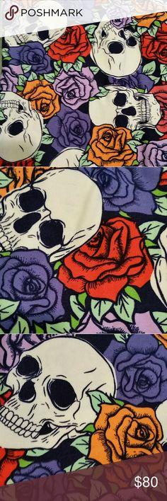 NWT LuLaRoe TC2 Halloween Rose Floral Skulls Red Background Pink Purple Black