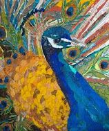 """ART AND LIFE of a figurative collage artist from Orlando, FL. Creating """"Paintings"""" with bits of torn paper, applied as brush strokes! Paper Collage Art, Paper Art, Paper Mosaic, Mosaic Art, Magazine Collage, Peacock Art, Peacock Canvas, Peacock Painting, Stretched Canvas Prints"""