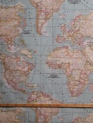 Bedrukte stof Wereldkaart 1