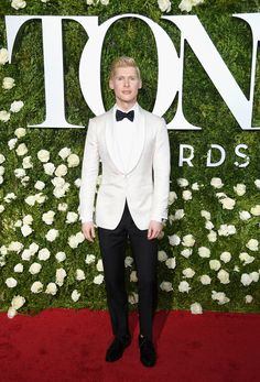 Lucas Steele, nominee for Best Actor in a Featured Role in a Musical, wears a white Burberry tuxedo to the Tony Awards 2017