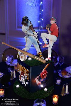 Baseball Themed Centerpiece Baseball Themed Centerpiece with Team Logos & Cutout Toppers