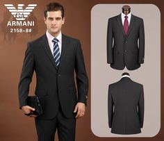 Armani Two Button Suits Black 01