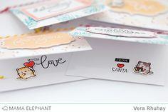 Inside decorated too ... ME S U P P L I E S :  Crafty Labels stamp Little Cat Agenda stamp Mini Messages stamp Retro Holiday Labels stamp Crafty Labels - Creative Cuts