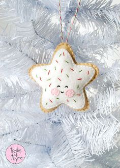 Whats sweeter than a frosted sugar cookie with sprinkles? This darling felt ornament is stitched entirely by hand, and is the perfect pattern for