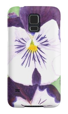 """White and purple Pansies flowers""Samsung Galaxy Cases & Skins by Savousepate on Redbubble #galaxycase #phonecase #galaxyskin #phoneskin #watercolor #painting #watercolorpainting #flowers #pansies #pansy #spring #purple #white #green"