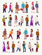 people isometric vector with several occupation vector art illustration