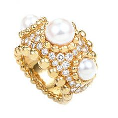 Chanel Pearl Gold Diamond Band Ring