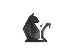 "Clean logo with clever use of negative space for ""Black Cat Lounge"" - designed by Jacob Weaver"