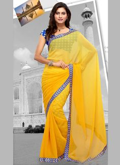 http://www.sareesaga.com/index.php?route=product/product&product_id=18245 Style	:	 Casual	 Shipping Time	:	10 to 12 Days Occasion	:	Party Festival Casual	 Fabric	:	Faux Chiffon Colour	:	Yellow	 Work	:	Lace For Inquiry Or Any Query Related To Product,  Contact :- +91 9825192886
