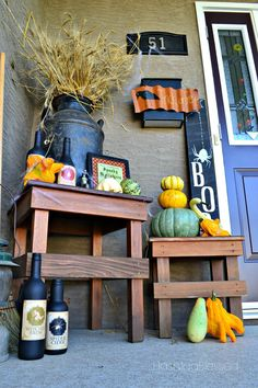 Witches Brew Creepy Halloween Porch Decor Halloween Porch Decorations, Outdoor Decorations, Holiday Decorations, Outdoor Ideas, How To Make Terrariums, Porch Decorating, Decorating Ideas, House With Porch, Witches Brew