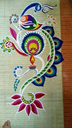 20 Beautiful & Simple Peacock Rangoli Designs - K4 Craft