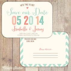 Rustic Chic Postcard Save the Date Navy Turquoise Coral Mint Peach Spring Wedding Announcement Printable OR Printed Card