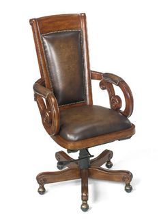 Leather U0026 Wood Office Chair