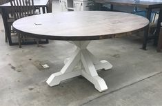 Fully customizable with color and size. Bigger Size will increase price. Picture shows gray walnut on distressed white. Rustic Round Table, Circle Dining Table, Farmhouse Dining Room Table, Trestle Dining Tables, Farmhouse Bench, Round Tables, Farmhouse Style, Distressed Kitchen Tables, Modern Kitchen Tables