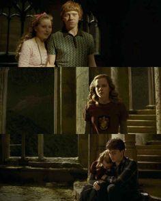 E quando Hermione passou o sexto ano inteiro chorando no ombro de Harry porque estava chateada que Rony estava com Lilá?