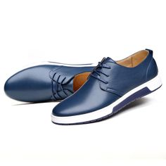 New Men Leather Flat Outdoor Casual Lace Up Soft Round Toe Oxfords Sneaker Shoes