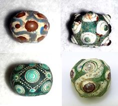 """Chinese Warring States era beads  with the """"eye-type"""" beads being made generally in the last half of the first millennium BC."""