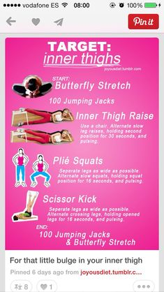 Inner thigh exercises; I just LOVE the butterfly stretch! It hurts a little, but in a good way!