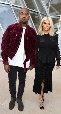 Kanye West and Kim Kardashian at the Louis Vuitton show.