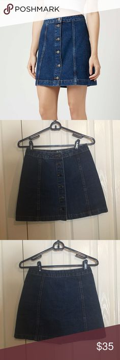 topshop denim skirt topshop button front denim skirt size 2 Topshop Skirts