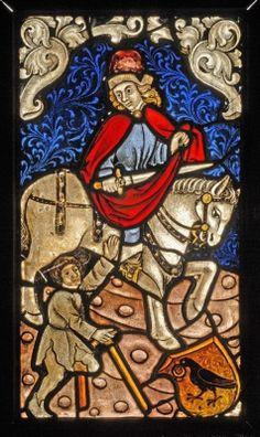 Üvegfestmény - Szent Márton és a koldus jelenetével és Hunyadi-címerrel. Iparművészeti Múzeum, Budapest