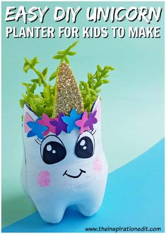If your looking for fantastic DIY Planter ideas then you will love this fantastic recycled bottle planter. This lovely Unicorn planter is a fabulous recycled craft project and one I'm sure the kids will love to make. Are you a fan of recycled craft ideas Recycled Bottle Crafts, Crafts From Recycled Materials, Recycled Crafts Kids, Craft Projects For Kids, Fun Crafts For Kids, Diy For Kids, Crafts To Make, Craft Ideas, Diy Ideas