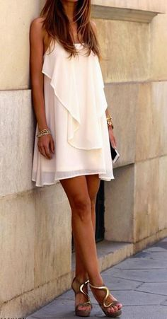 White Plain Irregular Cross Back Sexy Mini Dress