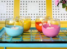 Plasti Dip plain glass cups, or plain votive containers to match your decor!