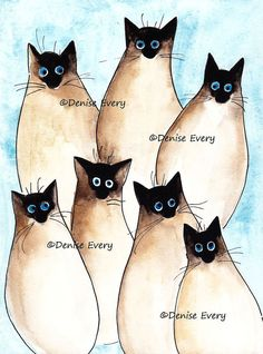 Cat Art Print Siamese Cats Abstract Cat Art ACEO by DeniseEvery