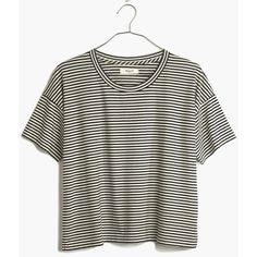 MADEWELL Crop Tee in Stripe (51 CAD) ❤ liked on Polyvore featuring tops, t-shirts, shirts, tees, true black, stripe tee, crop top, striped crop top, striped tee and crop tee