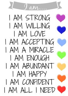 This is a free printable from www.anewadditionblog.co.uk of 10 Mantras for I AM. I am, I am strong, I am willing, I am love, I am accepting, I am a miracle, I am enough, I am abundant, I am happy, I am confident, I am all I need.