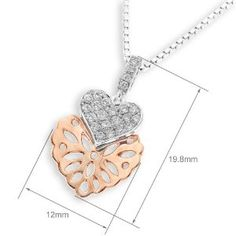 18K/750 Rose & White Gold Heart Shape Diamond Accents Pendant W/925 Sterling Silver Chain (0.16 cttw, G-H Color, VS2-SI1 Clarity) $463 #jewelry #diamond #pendant #heart #jewellery #iad #x1000 #amazon #facebook