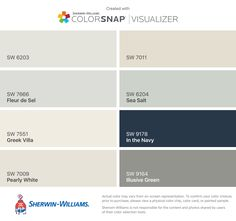 I found these colors with ColorSnap® Visualizer for iPhone by Sherwin-Williams: Spare White (SW 6203), Fleur de Sel (SW 7666), Greek Villa (SW 7551), Pearly White (SW 7009), Natural Choice (SW 7011), Sea Salt (SW 6204), In the Navy (SW 9178), Illusive Green (SW 9164).