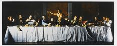 ◉wrecked, 1996.  Modelled on Leonardo da Vinci's Last Supper, this work substitutes the figure of Jesus for a bare-chested woman lost in a moment of abandon and seemingly unseen by the other people at the table.
