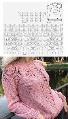 Fabulous Crochet a Little Black Crochet Dress Ideas. Georgeous Crochet a Little Black Crochet Dress Ideas. Crochet Cardigan Pattern, Crochet Jacket, Crochet Blouse, Crochet Jumper, Pull Crochet, Crochet Stitch, Knit Crochet, Lace Knitting, Knitting Patterns