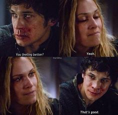 Bellamy and Clarke. Oh the way they look at each other! Love it! #the100 #bellarke (Bob Morley - Bellamy Blake & Eliza Taylor - Clarke Griffin)