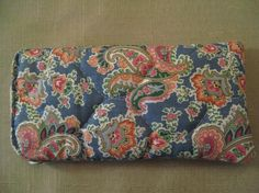 Un Used Printed Cotton quilted Padded Eyeglass Case Blue Pink