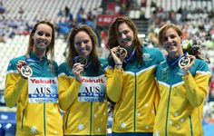 (L-R) Gold medalists Emma Mckeon, Emily Seebohm, Cate Campbell and Bronte Campbell of Australia
