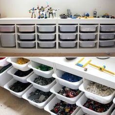 Lego Storage... Not just lego! - Ikea (lower to ground allowing for tabletop area)