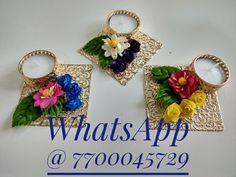 Beautiful floral diya for diwali decoration.Colours can be customise Diwali Diy, Diwali Craft, Flower Diy, Diy Flowers, Gift For Raksha Bandhan, Diwali Candles, Paper Crafts, Diy Crafts, Diwali Decorations