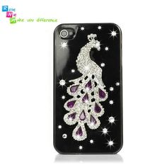 Handmade hard case, back cover for iPhone 4 & 4S: Bling peacock (custom are welcome)
