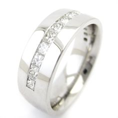 1.40ctw Princess Cut Eternity Style 8mm Men's Diamond Wedding Band M129