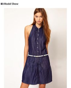 Denim Summer Dresses for Women | Women Spring Summer Fashion Sleeveless Sexy Denim Dress, View Denim ...